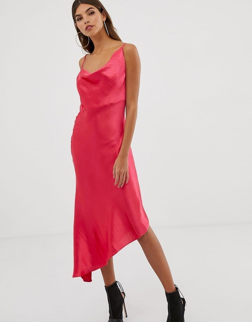 ASOS DESIGN High Shine Satin Midi Slip Hot Pink Dress