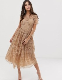 ASOS DESIGN Lace with Ribbon Tie and Open Back Midi Taupe Dress