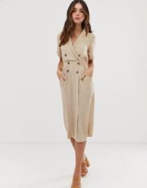 ASOS DESIGN Tux Midi Soft Camel Dress