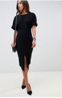 ASOS DESIGN Wiggle Midi Black Dress