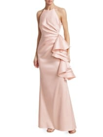 BADGLEY MISCHKA Halter Ruffle Knot Pink Dress