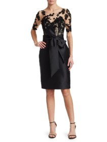 BADGLEY MISCHKA Lace Sleeve Sheath Cocktail Black Dress