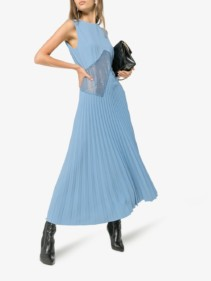 BEAUFILLE Delaunay Lace Insert Blue Dress