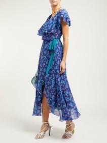 BEULAH Ratna Floral-Print Chiffon Wrap Navy Dress