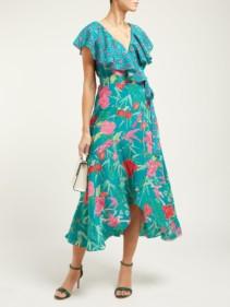 BEULAH Ratna Floral-Print Silk-Crepe Wrap Green Dress