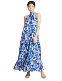 BORGO DE NOR Pandora Halter Neck Ivory / Floral Printed Dress