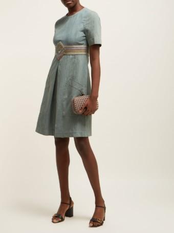 BOTTEGA VENETA Contrast-panel Denim Light Blue Dress