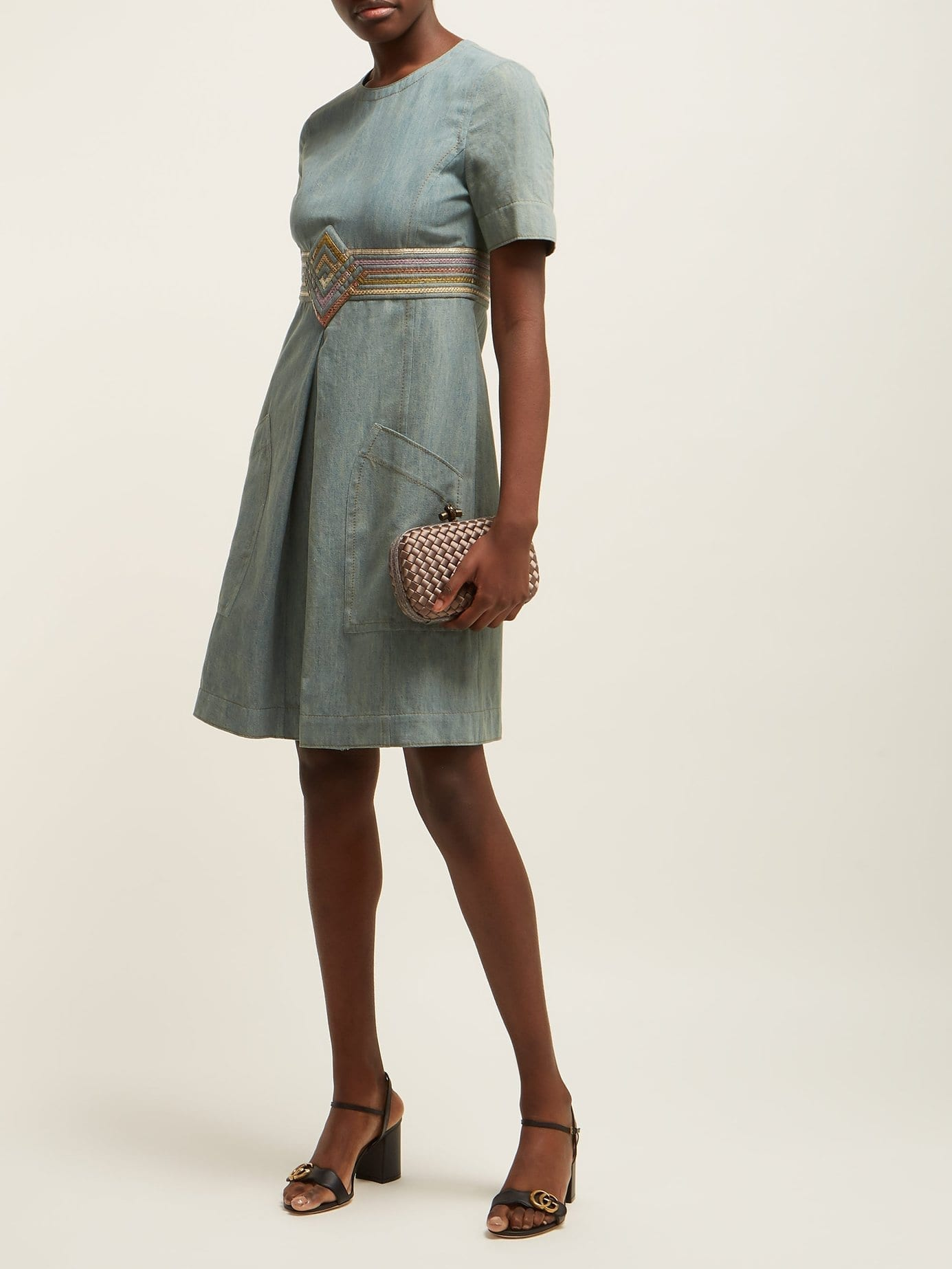 BOTTEGA VENETA Contrast-panel Denim Light Blue Dress