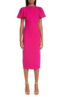 BRANDON MAXWELL Flutter Sleeve Sheath Pink Dress