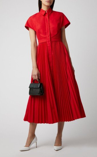 BRANDON MAXWELL Pleated Button-Up Shirt Red Dress