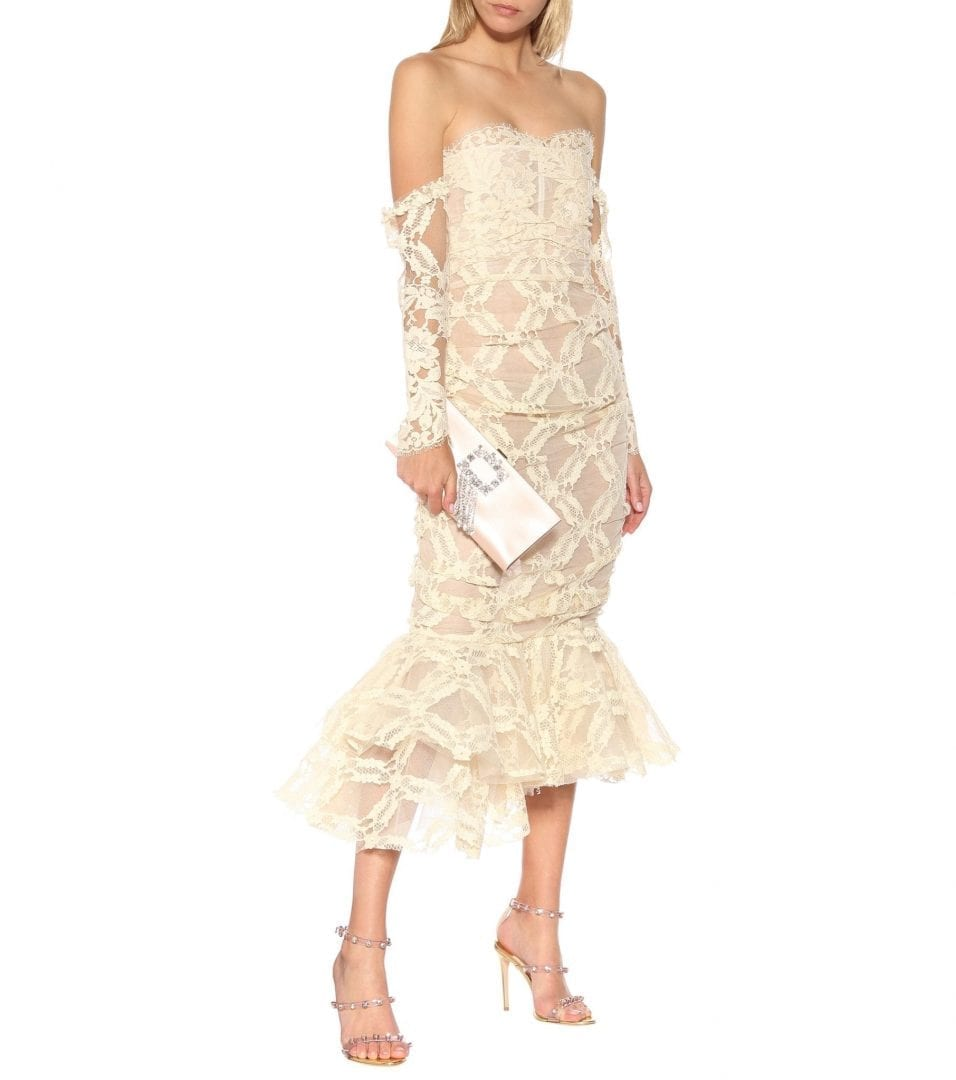BROCK COLLECTION Okniva Cotton-blend Lace Midi Cream / White Dress