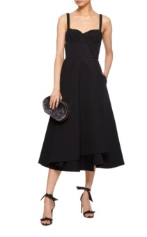 BROCK COLLECTION Orsola Hooked Cotton-Poplin Midi Black Dress