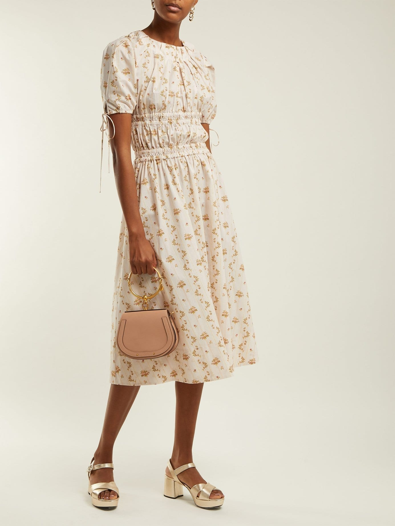 BROCK COLLECTION Orsolina Striped Floral-Print Cotton Midi Cream Dress