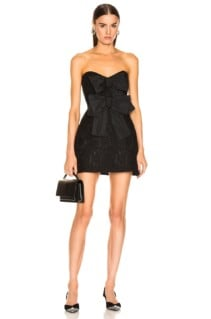 BROGNANO Strapless Bow Mini Black Dress