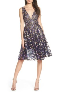 BRONX AND BANCO Sequin Fit & Flare Multicolored Dress