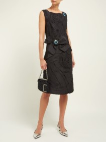 CALVIN KLEIN 205W39NYC Bow-appliqué Silk-taffeta Black Dress
