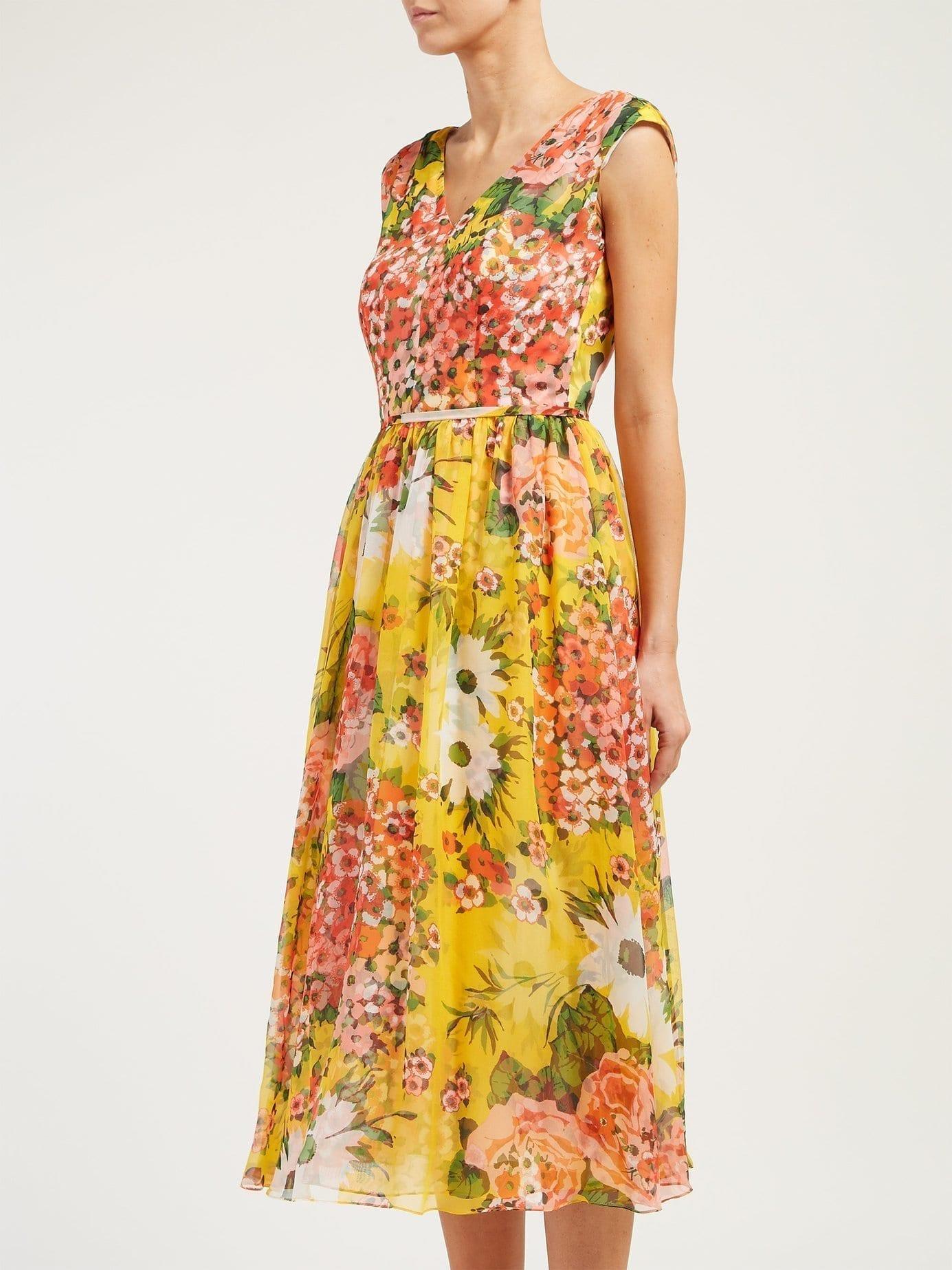 CAROLINA HERRERA Floral-Print Silk-Chiffon Yellow Dress