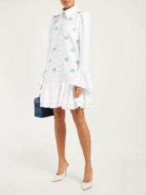 CAROLINA HERRERA Horse-appliqué Crepe Mini White Dress