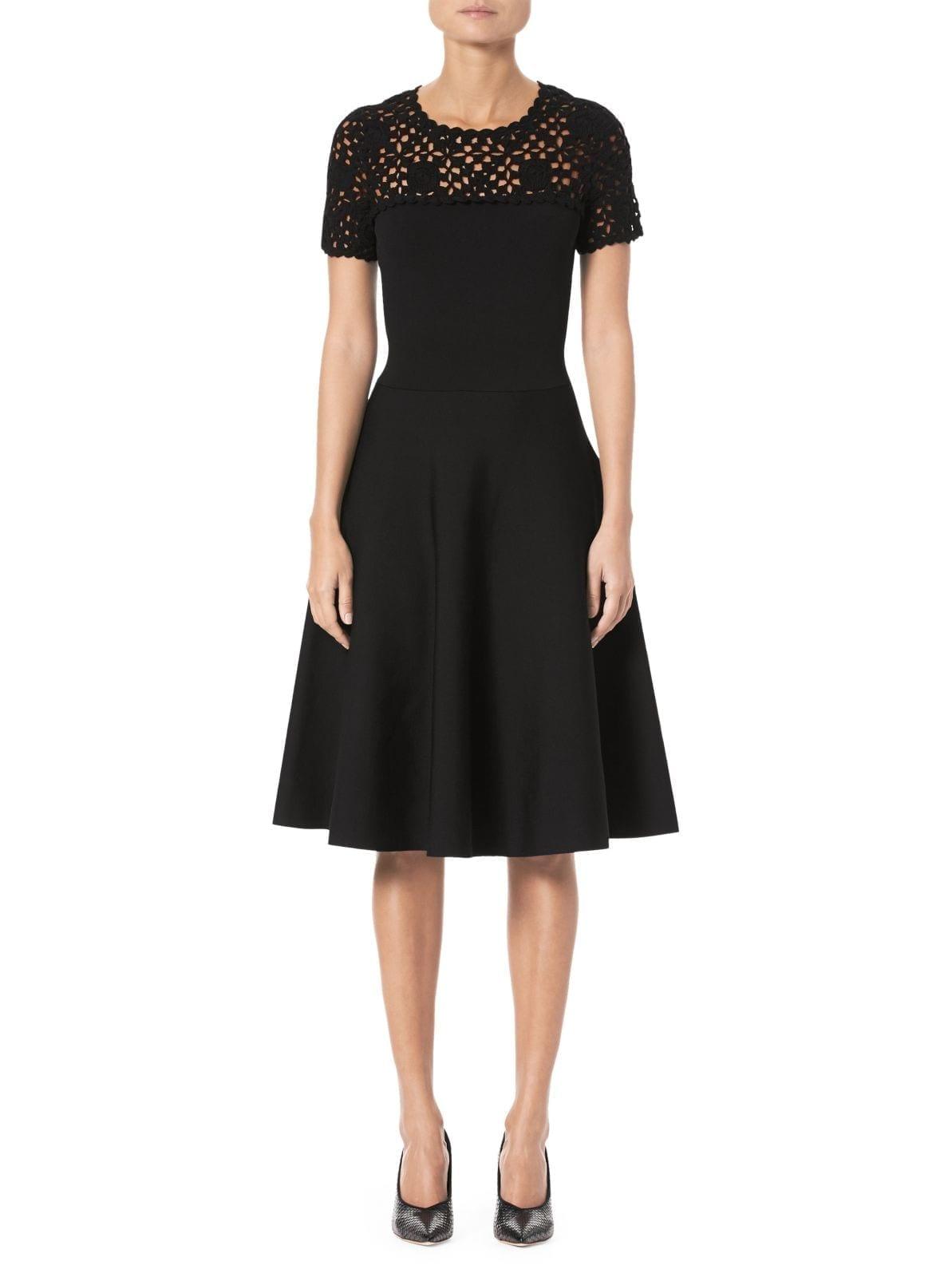 CAROLINA HERRERA Macramé Midi Black Dress