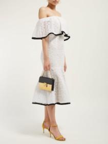 CAROLINA HERRERA Off-The-Shoulder Flared-Hem Lace Midi White Dress