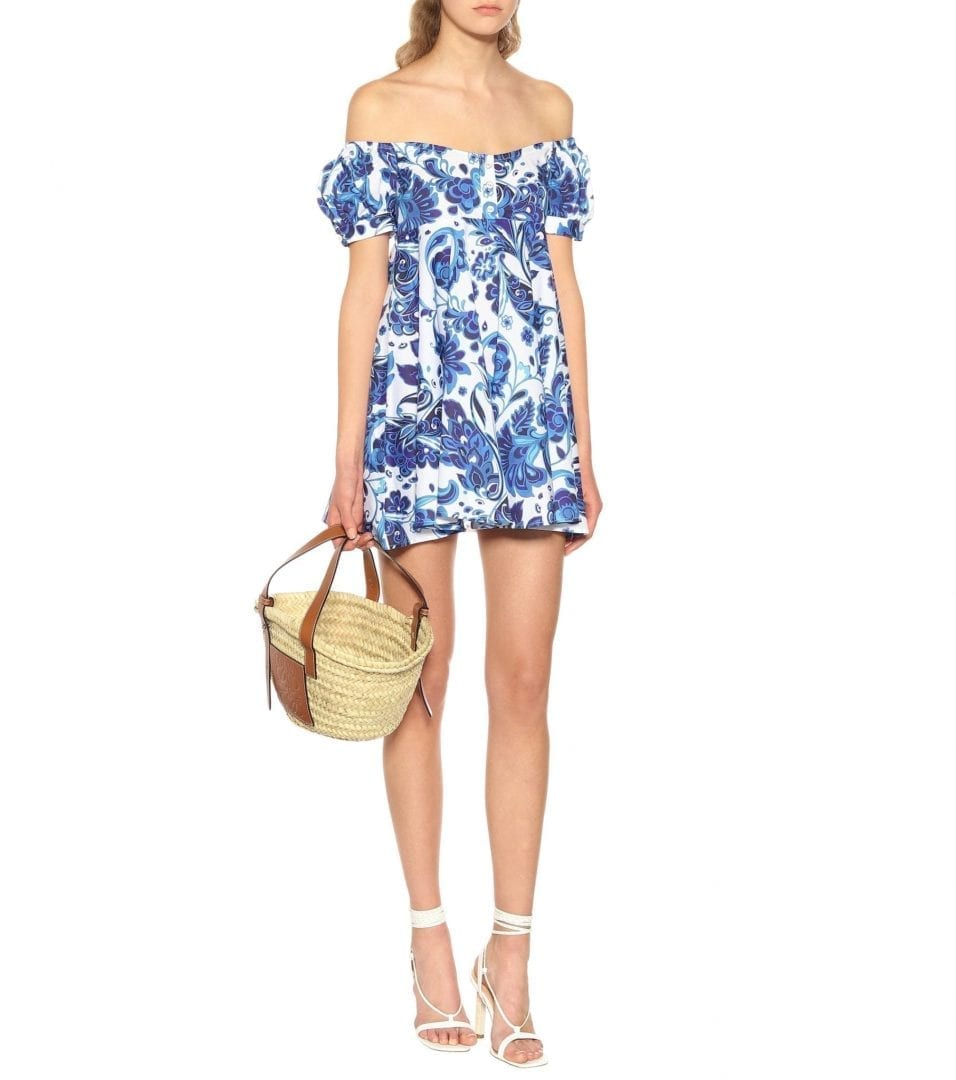 CAROLINE CONSTAS Dina Stretch Cotton Mini Blue Dress