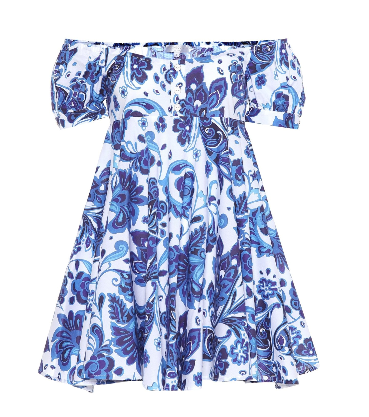 CAROLINE CONSTAS Dina Stretch Cotton Mini Blue Dress