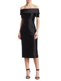 CATHERINE REGEHR Alice Off-The-Shoulder Cocktail Black Dress
