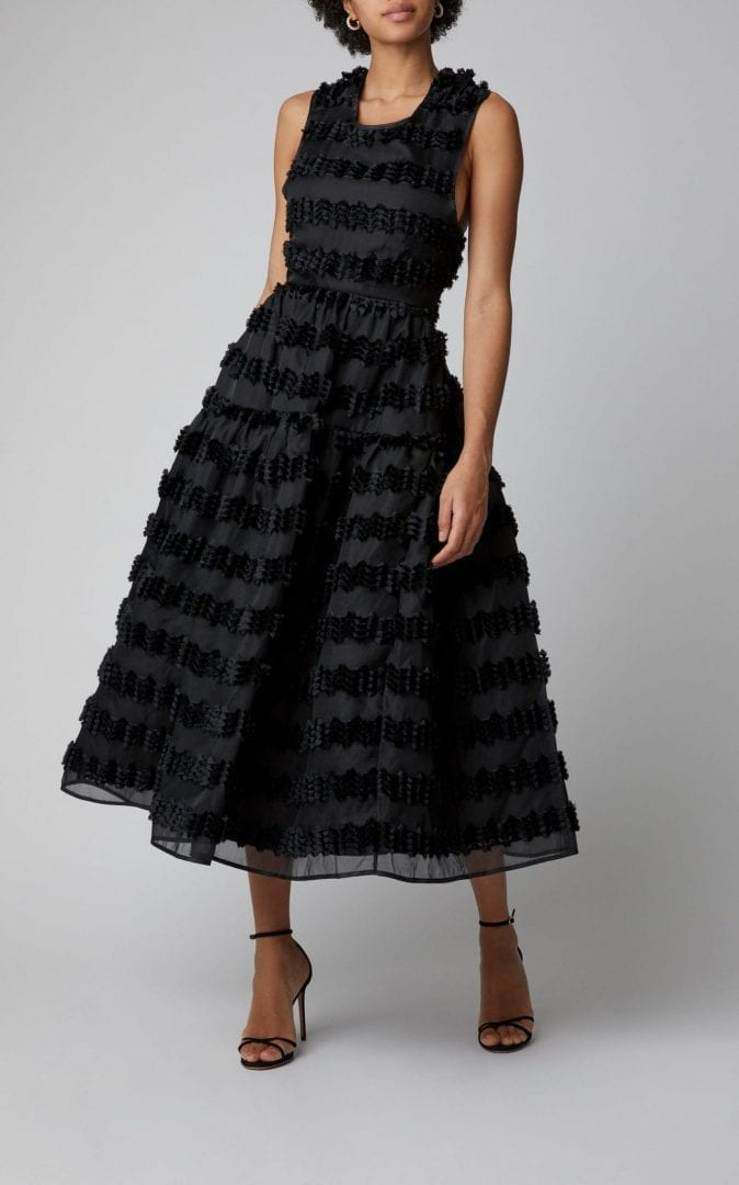 CECILIE BAHNSEN Ruth Striped Fil-Coupé Organza Black Gown