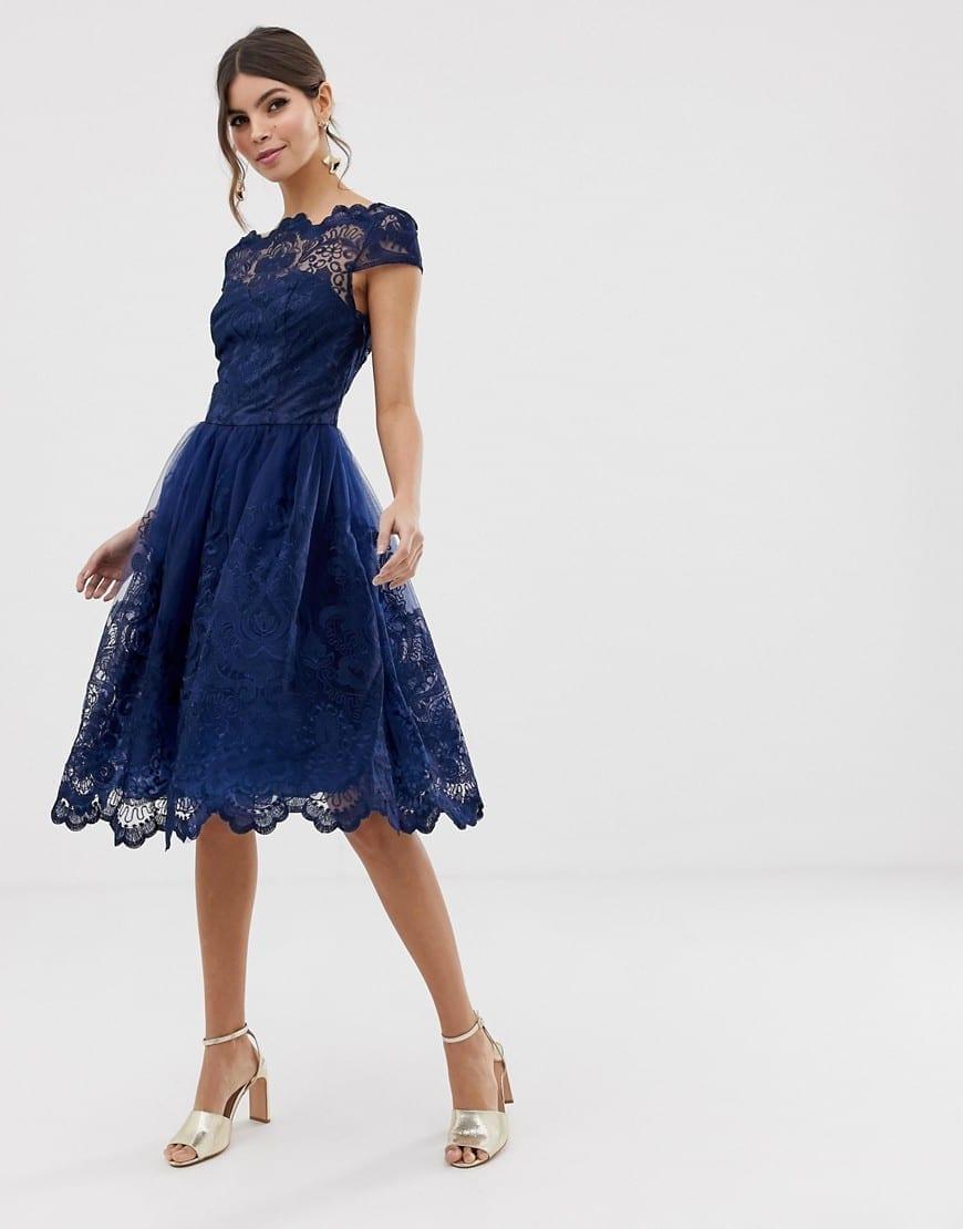 CHI CHI LONDON Premium Lace Cap Sleeve Midi Navy Dress