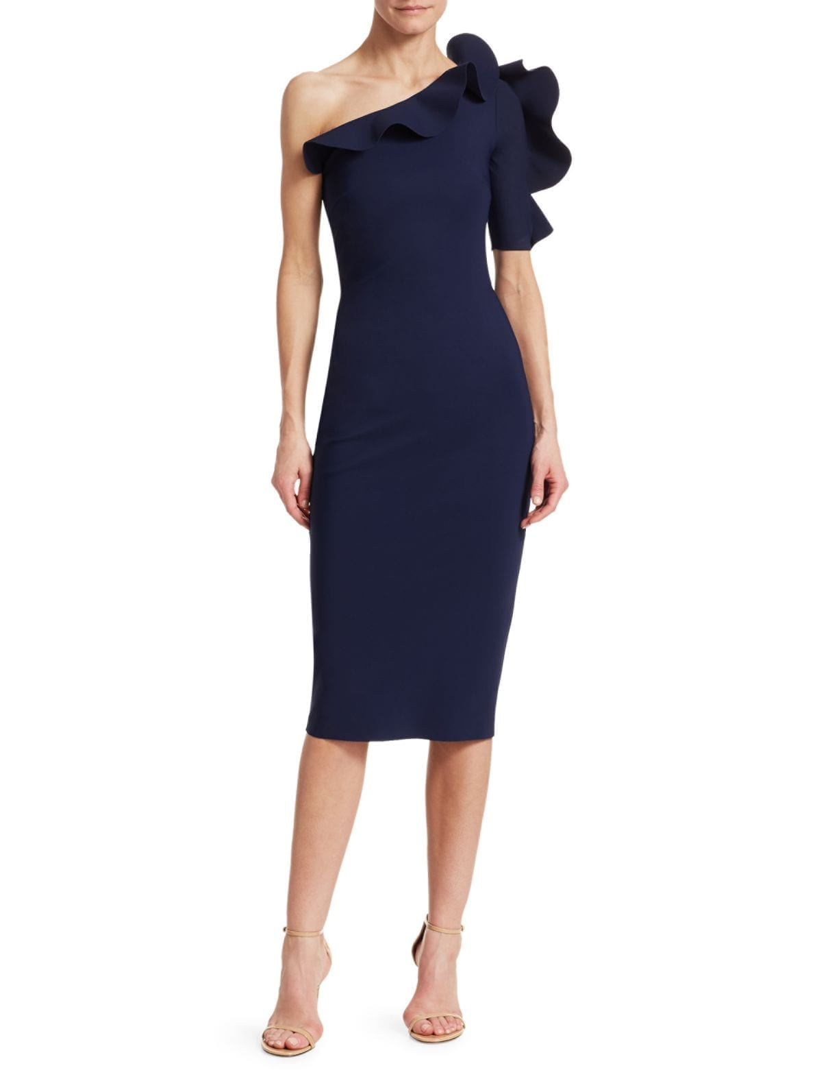 CHIARA BONI LA PETITE ROBE Aleece One-Shoulder Ruffle Sheath Navy Dress
