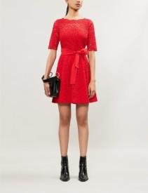 CLAUDIE PIERLOT Boat-Neck Lace Mini Red Dress