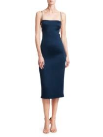 CUSHNIE Strap Detail Satin Midi Blue Dress