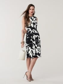 CALLIOPE tretch Twill Printed Ivory Dress