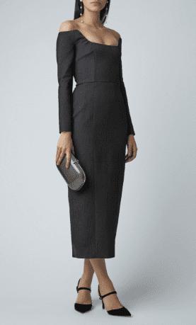 EMILIA WICKSTEAD Birch Off-The-Shoulder Crepe Midi Black Dress