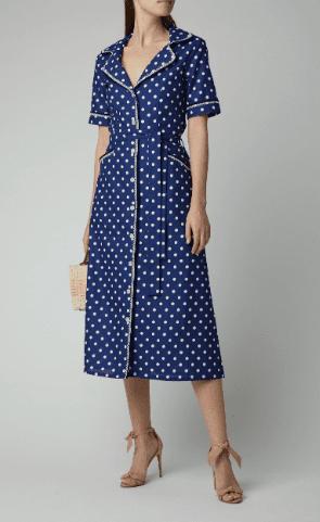 EVI GRINTELA Gloria Polka-Dot Cotton Midi Shirt Blue Dress