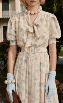 ALESSANDRA RICH Pleated Floral-Print Silk Midi Beige Dress
