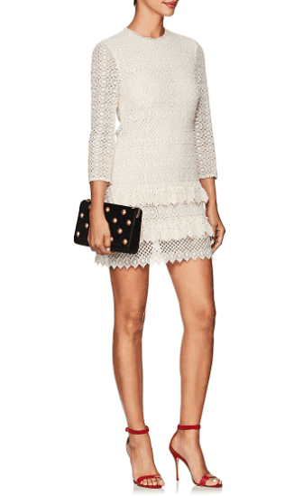 PHILOSOPHY DI LORENZO SERAFINI Macramé Mini Cream Dress