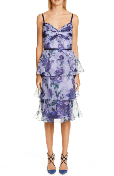 MARCHESA NOTTE Floral Tiered Midi Lilac Dress