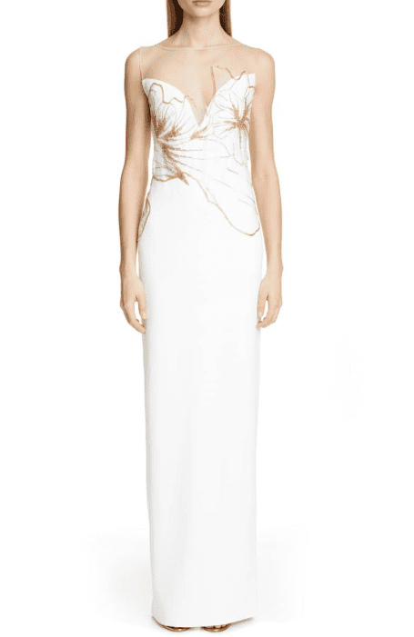 PAMELLA ROLAND Embellished Evening White Gown