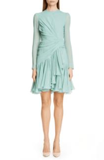 GIAMBATTISTA VALLI Long Sleeve Ruched Ruffle Silk Opal Dress
