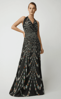 GIVENCHY Pleated Floral-Print Silk-Crepe Halter Black Gown