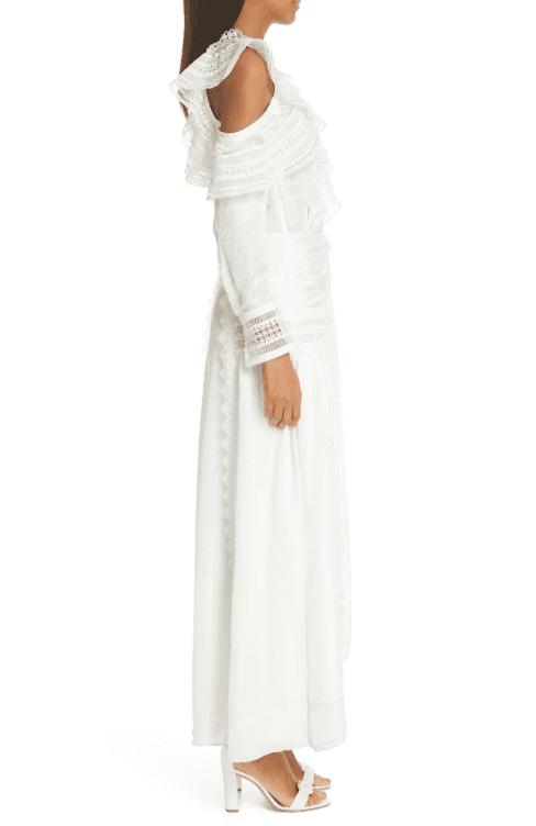 2aa18c55c9dc SELF-PORTRAIT Frill Long Sleeve One-Shoulder Maxi Ivory Dress - We ...