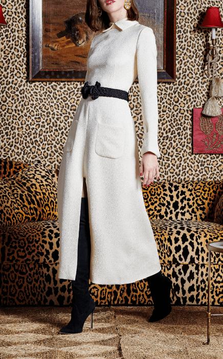 REBECCA DE RAVENEL Jacquard Silk Wool White Dress