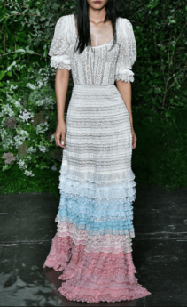JONATHAN SIMKHAI Tiered Cotton-Blend Lace Gown Multi-color Dress