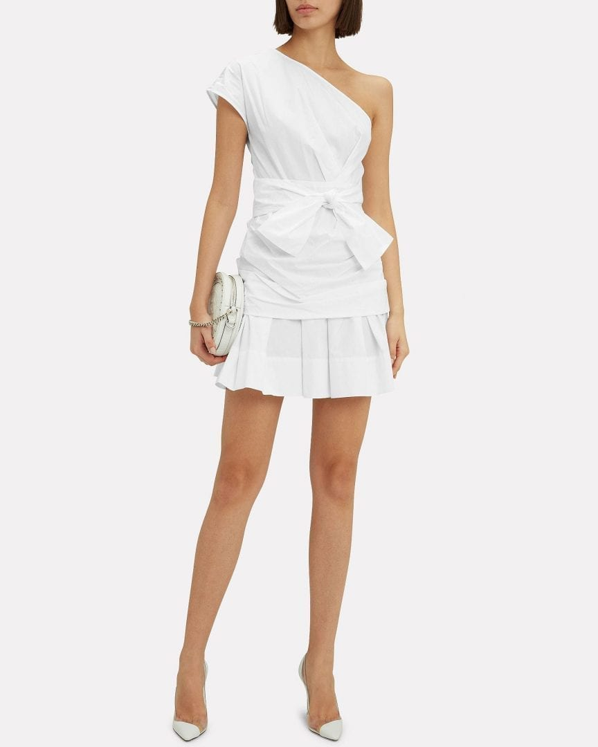 DEREK LAM 10 CROSBY One Shoulder Gathered Mini White Dress