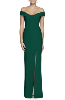 DESSY COLLECTION Off The Shoulder Crossback Green Gown