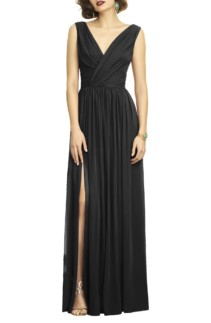 DESSY COLLECTION Surplice Ruched Chiffon Black Gown