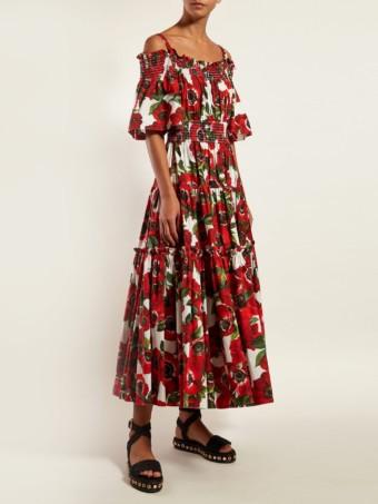 DOLCE & GABBANA Anenome-Print Ruffle Cotton Midi Red Dress