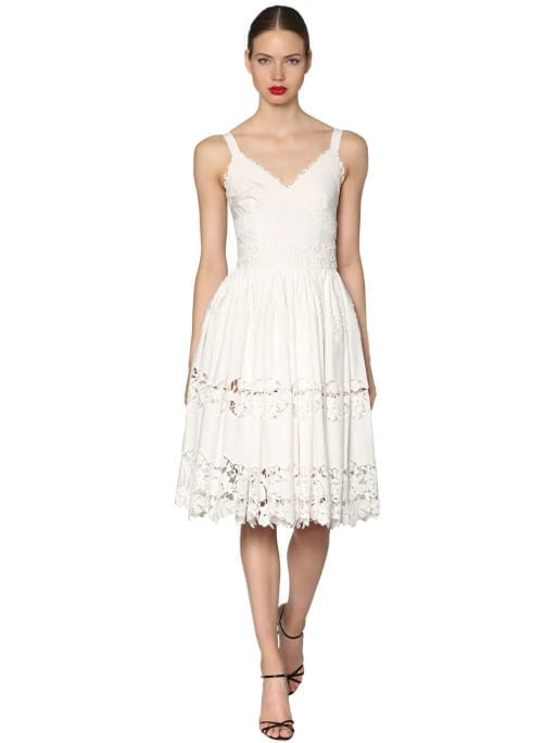 DOLCE & GABBANA Embroided Cotton Popline Midi White Dress