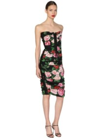DOLCE & GABBANA Floral Printed Lace Up Midi Black Dress
